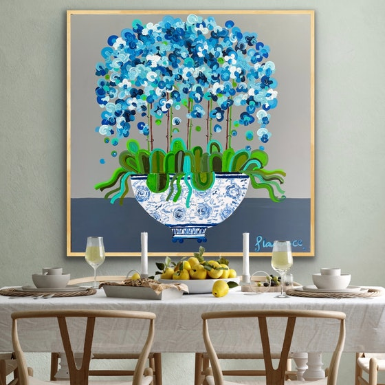 Bright blue abstract orchid in large chinoiserie pot