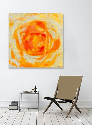 (CreativeWork) Peach Rose - Limited Edition Print - 127cm squ Ed. 2 of 5 by George Hall. Print. Shop online at Bluethumb.