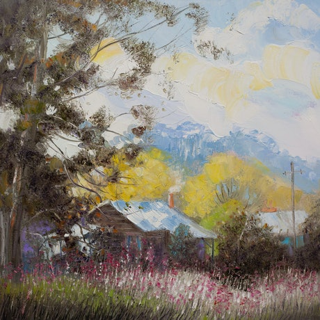 (CreativeWork) Gum Tree Cottage by Michael Cartwright. Oil Paint. Shop online at Bluethumb.