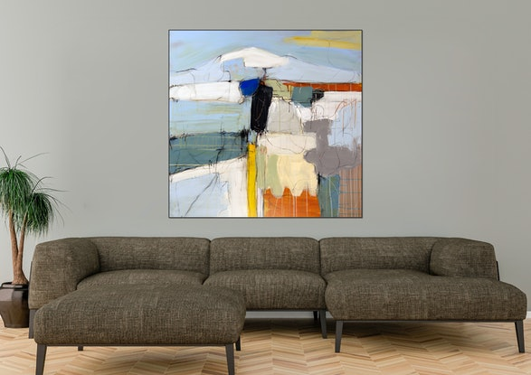 (CreativeWork) Blue Hills I by Michael Wolfe. Acrylic Paint. Shop online at Bluethumb.