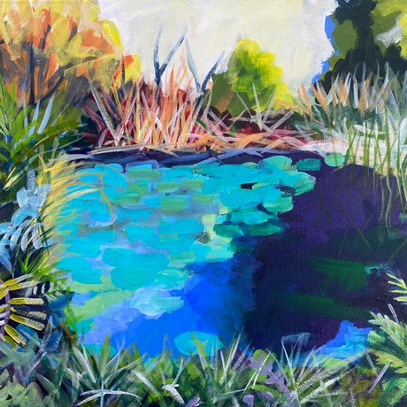 (CreativeWork) Lily Pond by Alison Pilcher. Acrylic. Shop online at Bluethumb.