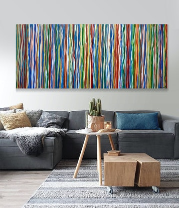 (CreativeWork) Retro Funk - 198 x 84cm acrylic on canvas by George Hall. Acrylic Paint. Shop online at Bluethumb.