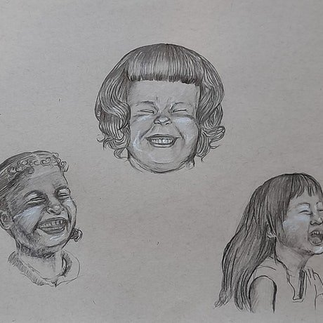 (CreativeWork) Feels: laughter  by Liz H Lovell. Drawings. Shop online at Bluethumb.
