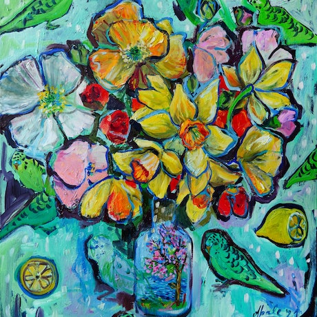 (CreativeWork) Still Life with Daffodils and Green Budgies by Katerina Apale. Oil Paint. Shop online at Bluethumb.