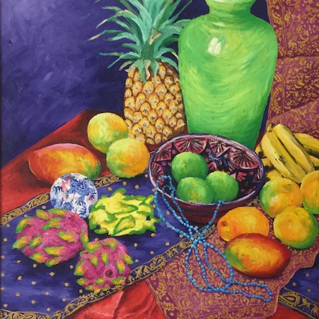 Dragon fruit, pineapple, mangoes, bananas, Limes, objects and lime green vase , on bright purple and red cloths