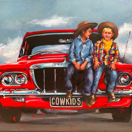 (CreativeWork) TWO COWKIDS AND A CHRYSLER feat. 1962 Chrysler Valiant S Ed. 3 of 50 by Rosa Fedele. Reproduction Print. Shop online at Bluethumb.