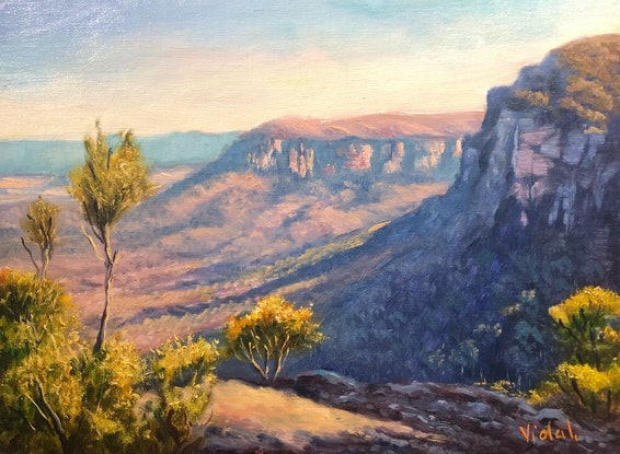 (CreativeWork) Boars Head, Blue Mountains - Oil on linen board by Christopher Vidal. Oil. Shop online at Bluethumb.