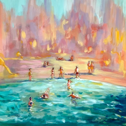 (CreativeWork) Summer Dreamings by Sara Roberts. Oil Paint. Shop online at Bluethumb.