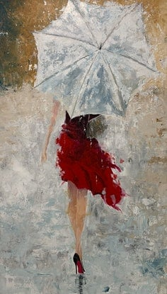 (CreativeWork) Lady with Umbrella by Tom Roso. Acrylic. Shop online at Bluethumb.
