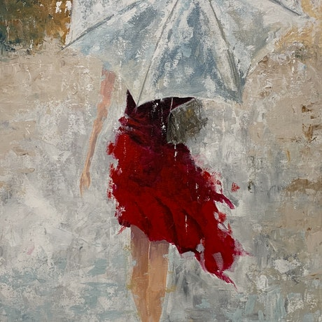 (CreativeWork) Lady with Umbrella by Tom Roso. Acrylic Paint. Shop online at Bluethumb.