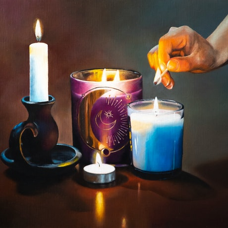 (CreativeWork) Flickering Candles by Sarah Park. Oil Paint. Shop online at Bluethumb.