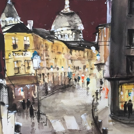(CreativeWork) Midnight Window Shopping in Paris by Bernd Rieve. Watercolour Paint. Shop online at Bluethumb.