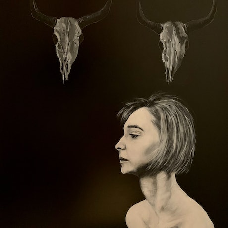 A great portrait of a young woman in a slightly disturbing setting, a very dynamic piece for a bright or dimly lit room.