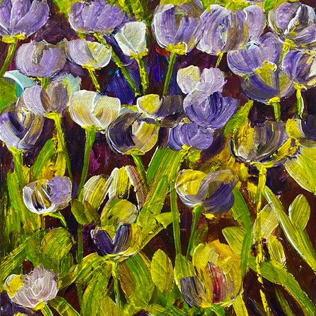 (CreativeWork) Purple Tulips  by Julie Dynan. Acrylic Paint. Shop online at Bluethumb.
