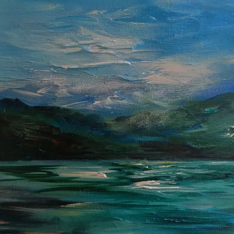 (CreativeWork) Stormy River  by Alice Howell. Oil. Shop online at Bluethumb.