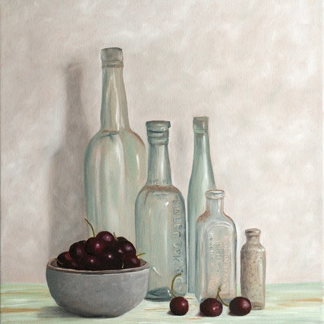 (CreativeWork) Bottle and Cherries - Oil Painting  by Johanna Larkin. Oil. Shop online at Bluethumb.