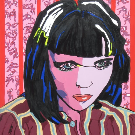 (CreativeWork) Stripes and a Girl by Lesley Taylor. Acrylic Paint. Shop online at Bluethumb.