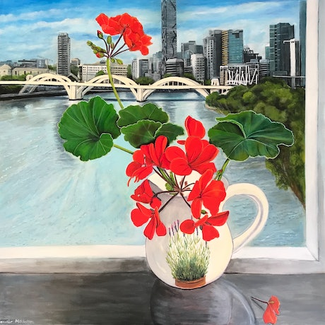 (CreativeWork) Geraniums and the William Jolly bridge  by Jennifer Mitchelson. Acrylic Paint. Shop online at Bluethumb.