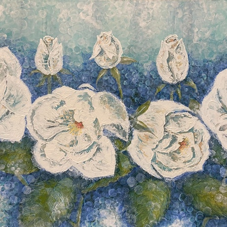 (CreativeWork) White Roses by Jennie Jones. Acrylic Paint. Shop online at Bluethumb.