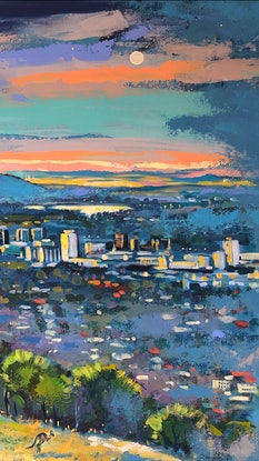(CreativeWork) View from mount Taylor by Valentyna Crane. Acrylic. Shop online at Bluethumb.