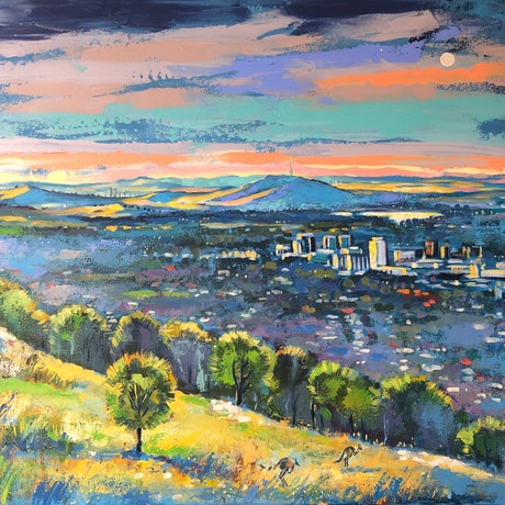 (CreativeWork) View from mount Taylor by Valentyna Crane. Acrylic Paint. Shop online at Bluethumb.