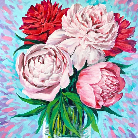 (CreativeWork) Pink Peonies – framed original painting by Irina Redine. Acrylic Paint. Shop online at Bluethumb.