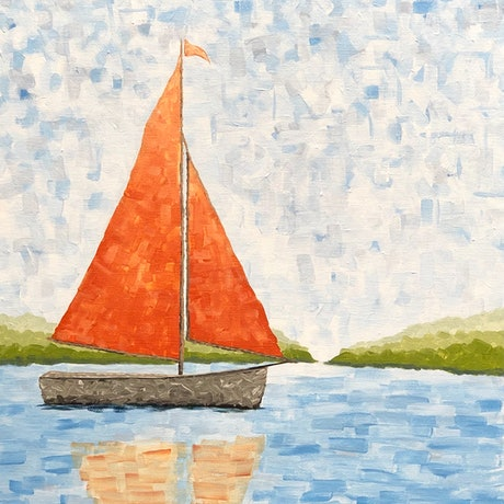 (CreativeWork) Lets go sailing #2 by Stephanie Siomos. Acrylic Paint. Shop online at Bluethumb.