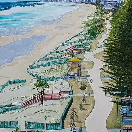 (CreativeWork) Gold Coast Skyline by Paul Crowe. Oil. Shop online at Bluethumb.