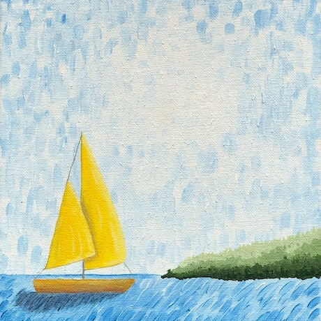 (CreativeWork) Lets go sailing #3 by Stephanie Siomos. Acrylic Paint. Shop online at Bluethumb.