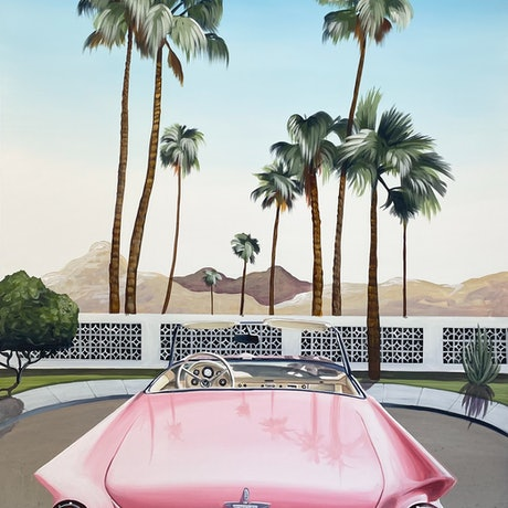 (CreativeWork) Framed Palm Springs - Pink Lady  by Chris Riley. Acrylic Paint. Shop online at Bluethumb.