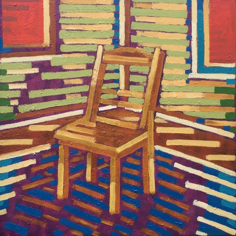 Colourful chair in sunlit room
