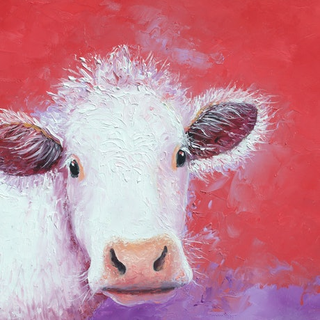 (CreativeWork) COW, CARNATION - Framed by Jan Matson. Oil Paint. Shop online at Bluethumb.