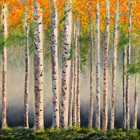 (CreativeWork) Autumn Birch Forest  by Jenny McGrath. Acrylic Paint. Shop online at Bluethumb.