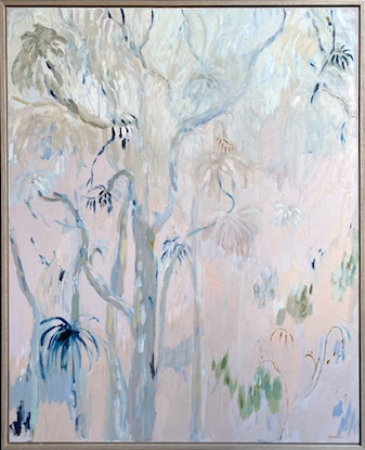 (CreativeWork) Gumtrees in the Mist by Sally Browne. Oil Paint. Shop online at Bluethumb.