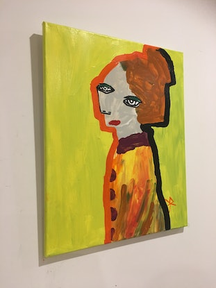 (CreativeWork) Sofia on Lime Yellow.  by Kate Rogers. Acrylic. Shop online at Bluethumb.