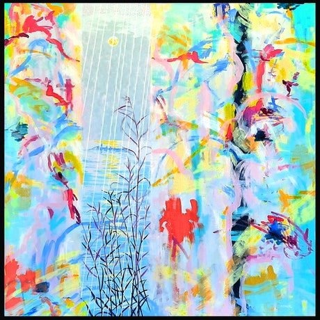 (CreativeWork) Midnight rain by Sue Smith. Acrylic Paint. Shop online at Bluethumb.