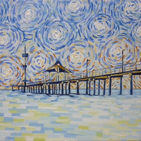 (CreativeWork)  'Brighton Jetty in Cerulean Blue' by Nicholas Belchamber. Oil Paint. Shop online at Bluethumb.