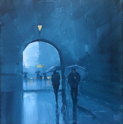 (CreativeWork) Through the arch - rainy cityscape by Mike Barr. Acrylic Paint. Shop online at Bluethumb.
