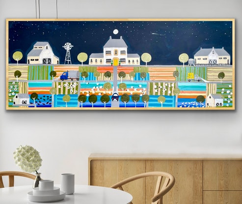 (CreativeWork) High country house in blue  157x66 framed large textured abstract landscape by Sophie Lawrence. Acrylic Paint. Shop online at Bluethumb.