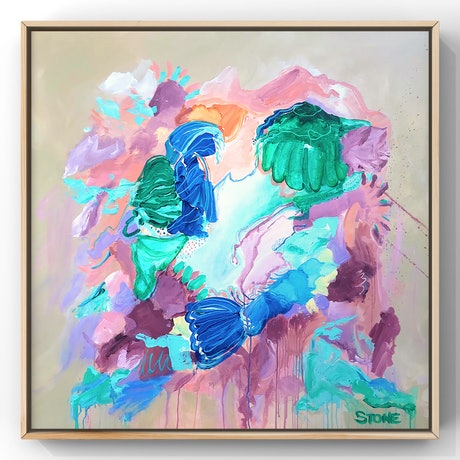 (CreativeWork) TROPICAL - FRAMED IN OAK COLOURFUL ABSTRACT  by Belinda Stone. Acrylic Paint. Shop online at Bluethumb.