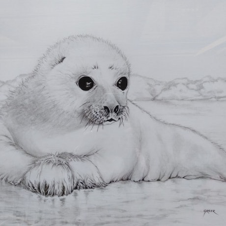(CreativeWork) Polar ice baby by Greer Roberts. Drawings. Shop online at Bluethumb.