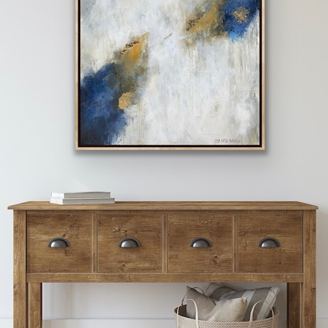 (CreativeWork) SALE Toffee & Wild blueberry Gelato, oak framed   by Lisa Wisse-Robinson. Mixed Media. Shop online at Bluethumb.