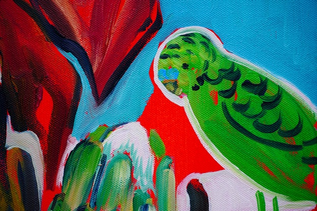 (CreativeWork) Still Life with Gymea Lily and Green Budgies by Katerina Apale. Oil Paint. Shop online at Bluethumb.