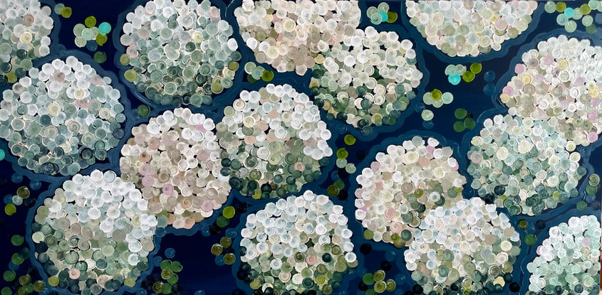 (CreativeWork) White night hydrangea 157x80 framed large textured abstract  by Sophie Lawrence. Acrylic. Shop online at Bluethumb.