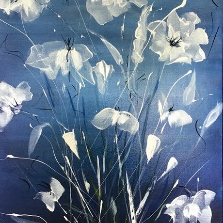 (CreativeWork) Porcelain Blue by Louise Croese. Acrylic Paint. Shop online at Bluethumb.