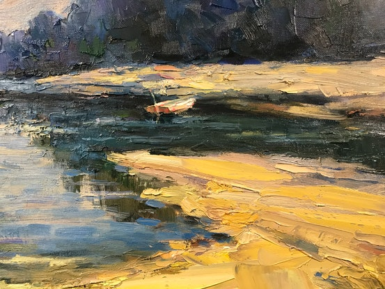 (CreativeWork) Riverside by Fangmin Wu. Oil. Shop online at Bluethumb.
