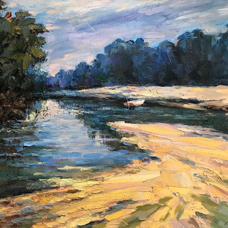 (CreativeWork) Riverside by Fangmin Wu. Oil Paint. Shop online at Bluethumb.