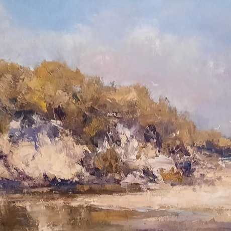 (CreativeWork) Midday on the Dunes. Frazer Island. Qld by Barry Back. Oil Paint. Shop online at Bluethumb.