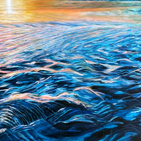 Large seascape beach in with sunset on water