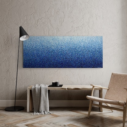 (CreativeWork) Currarong Water Dance Four 152 x 61cm acrylic on canvas by George Hall. Acrylic. Shop online at Bluethumb.